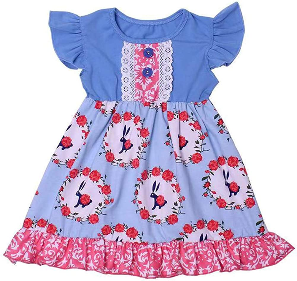 LZJLSQHYH Toddlers Easter Bunny Dress Children Grils Spring/&Summer Cartoon Rabbit Dress Easter Dresses for Baby Girls