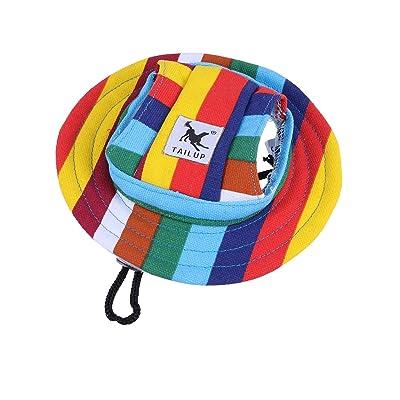 WINOMO Round Brim Pet Cap Stripe Pet Dog Mesh Porous Sun Cap