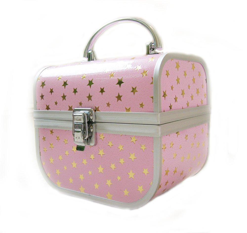 Arustino - Estuche para maquillaje y joyas, rosa con estrellas doradas, de Milan Cosmetic. Accessories 4U Ltd CS8228