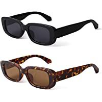 BUTABY Rectangle Sunglasses for Women Retro Driving Glasses 90's Vintage Fashion Narrow Square Frame UV400 Protection…