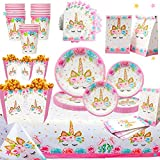 Unicorn Party Supplies Set for 16 | Plates, Cups,Table Cloth, Napkins, Popcorn Boxes and Gift Bags Kit | Diposable Tableware | Magical Decorations for Girls or Kid's Birthday Parties, Baby shower by Bestus
