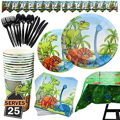 Kompanion Set de 177 Piezas de Fiesta Diseño de Dinosaurio, Incluye Pancarta, Platos,Vasos, Cubiertos, Servilletas,Mantel, Cucharas, Tenedores y ...