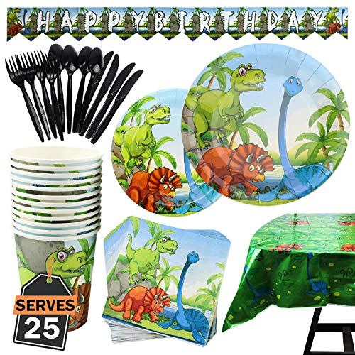 177 Piece Dinosaur Party Supplies Set Including Plates, Cups, Napkins, Spoons, Forks, Knives, Tablecloth and Banner, Serves -