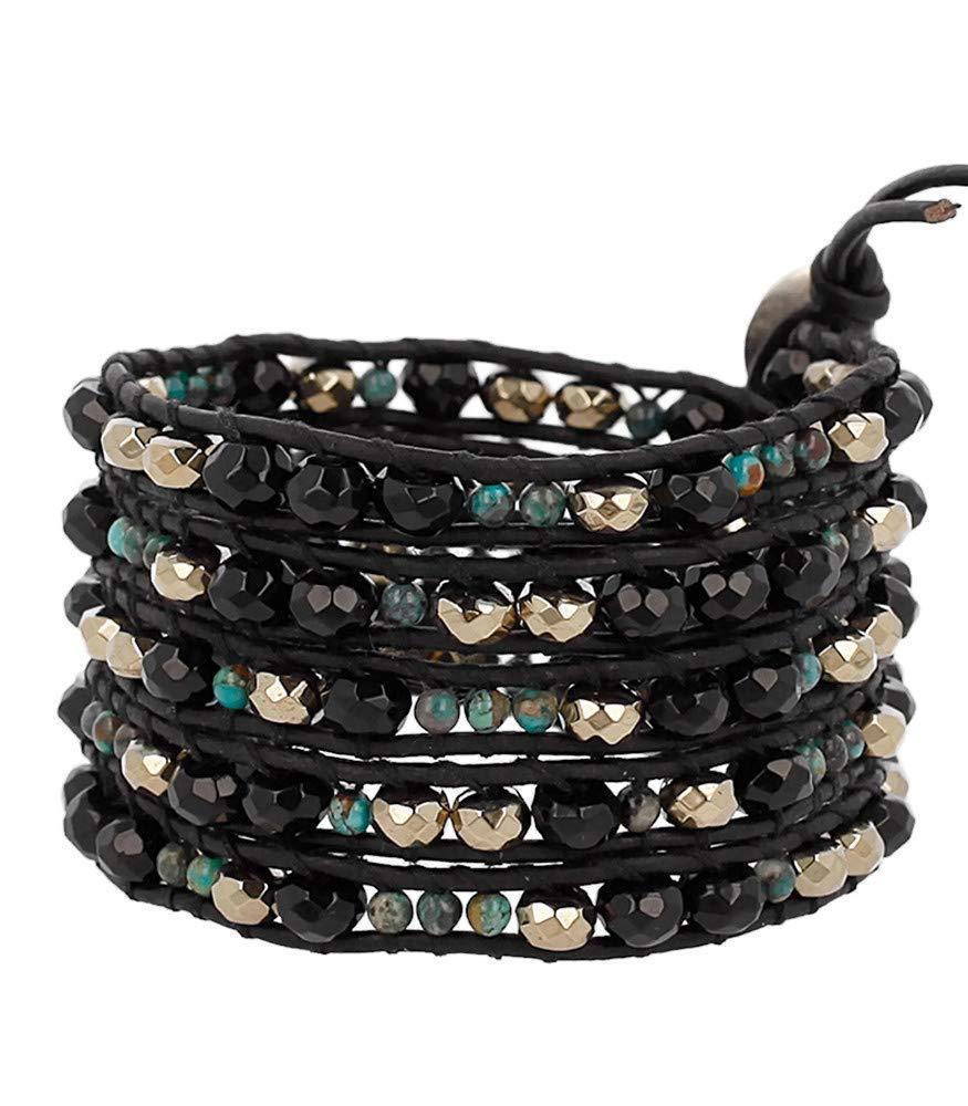 Chan Luu Black & Goldtone with Green Mineral Stone Beaded Black Leather Silvertone Wrap Bracelet by Chan Luu