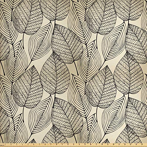 Ambesonne Beige Fabric by The Yard, Autumn Geometric Leaf Pattern Ornamental Foliage Design Abstract Line Arrangement, Decorative Fabric for Upholstery and Home Accents, 2 Yards, Beige Black