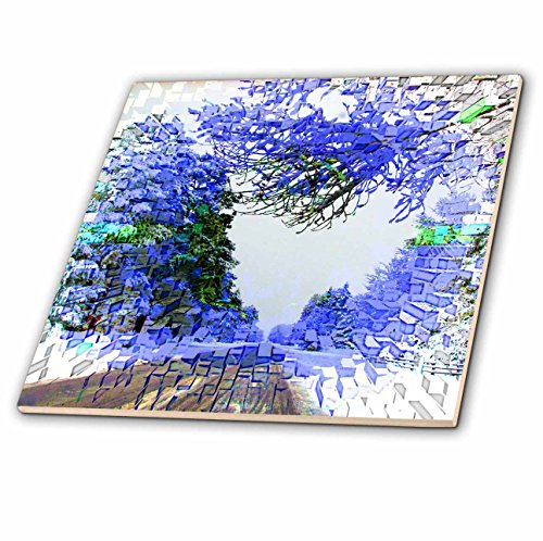 Scene Ceramic - 3dRose Jos Fauxtographee- Extrusion in Pine Valley - An extrusion of a winter scene using blue accents - 12 Inch Ceramic Tile (ct_266293_4)