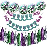 Birthday Party Decoration Set 1PC Happy Birthday Flag 5PCS Mixed Confetti Balloons 3PCS Tassels 3PCS Paper Flowers Wedding Anniversary Decoration Gessppo