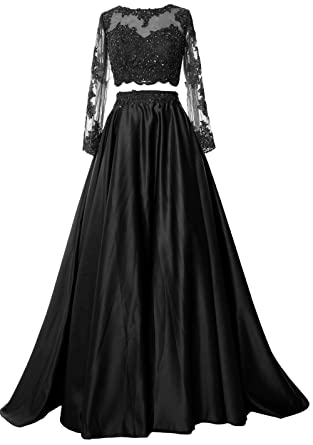 0d22c6f1d MACloth Women Lace Satin Formal Evening Gown Two Piece Long Sleeve Prom  Dress (UK6,