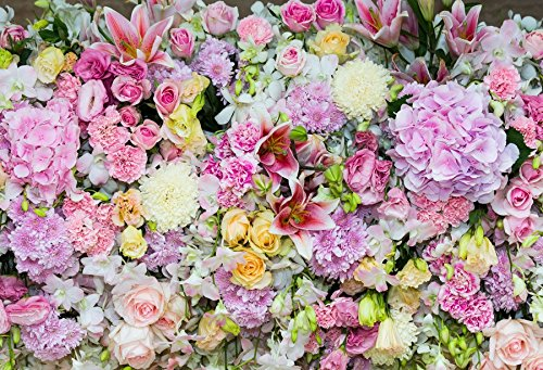 Laeacco Beautiful Flowers Photography Background 10x6.5ft Colourful Floral Decoration Blooming Natural Blossom Daisy Macro Bouquet Assorted Romantic Rose Romantic Wedding Background