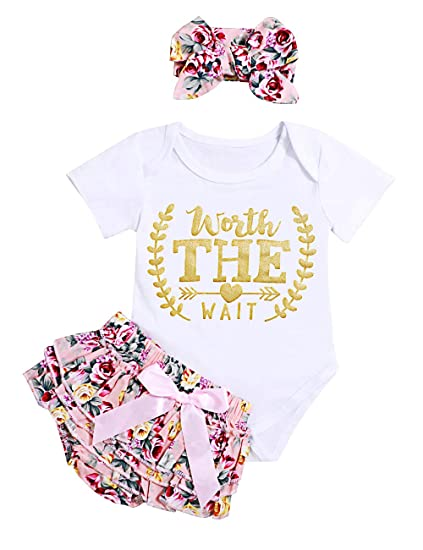 f564fcc4aef8 Newborn Baby Girl Clothes Letters Print Romper + Ruffle Floral Shorts  Bow-Knot Bodysuit Headband