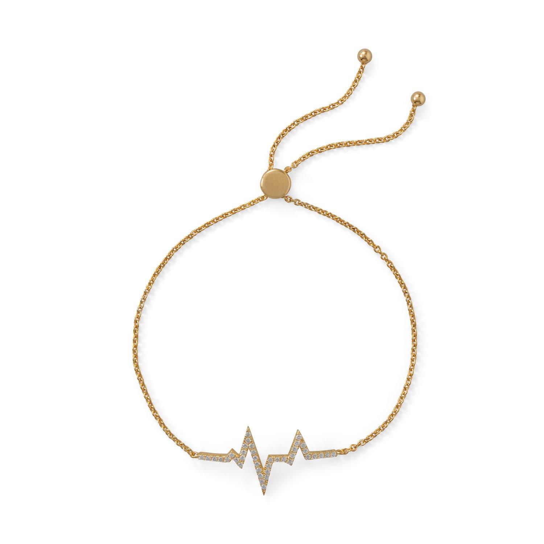 Pulsera de plata esterlina intermitente dorada ajustable de 15,5 mm x 29,5 mm con circonita cúbica con diseño de latido de corazón