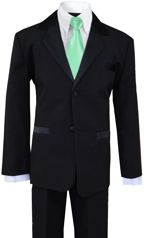 Black n Bianco Boys Black Tuxedo Suit w//Rustic Light Green Tie