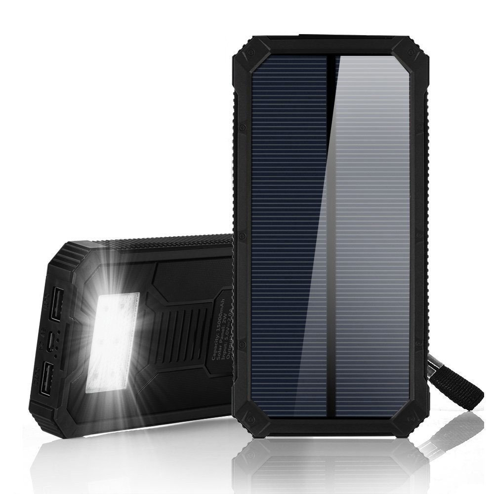 F.DORLA 15000mAh Solar Power Bank, Portable Solar Charger Dual USB Solar Phone Charger, Fast Charging External Battery Pack 6 LED Flashlight Cell Phone iPad Tablet Camera (Black)