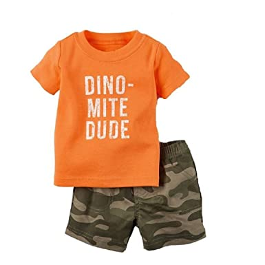 6cae697852a32 Amazon.com: Hooyi Camouflage Dino Baby Boy Clothes Suit Infant ...