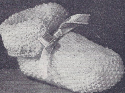 Vintage Knitting PATTERN to make - Cuffed Boots Baby Booties Shoe. NOT a finished item. This is a pattern and/or instructions to make the item only.