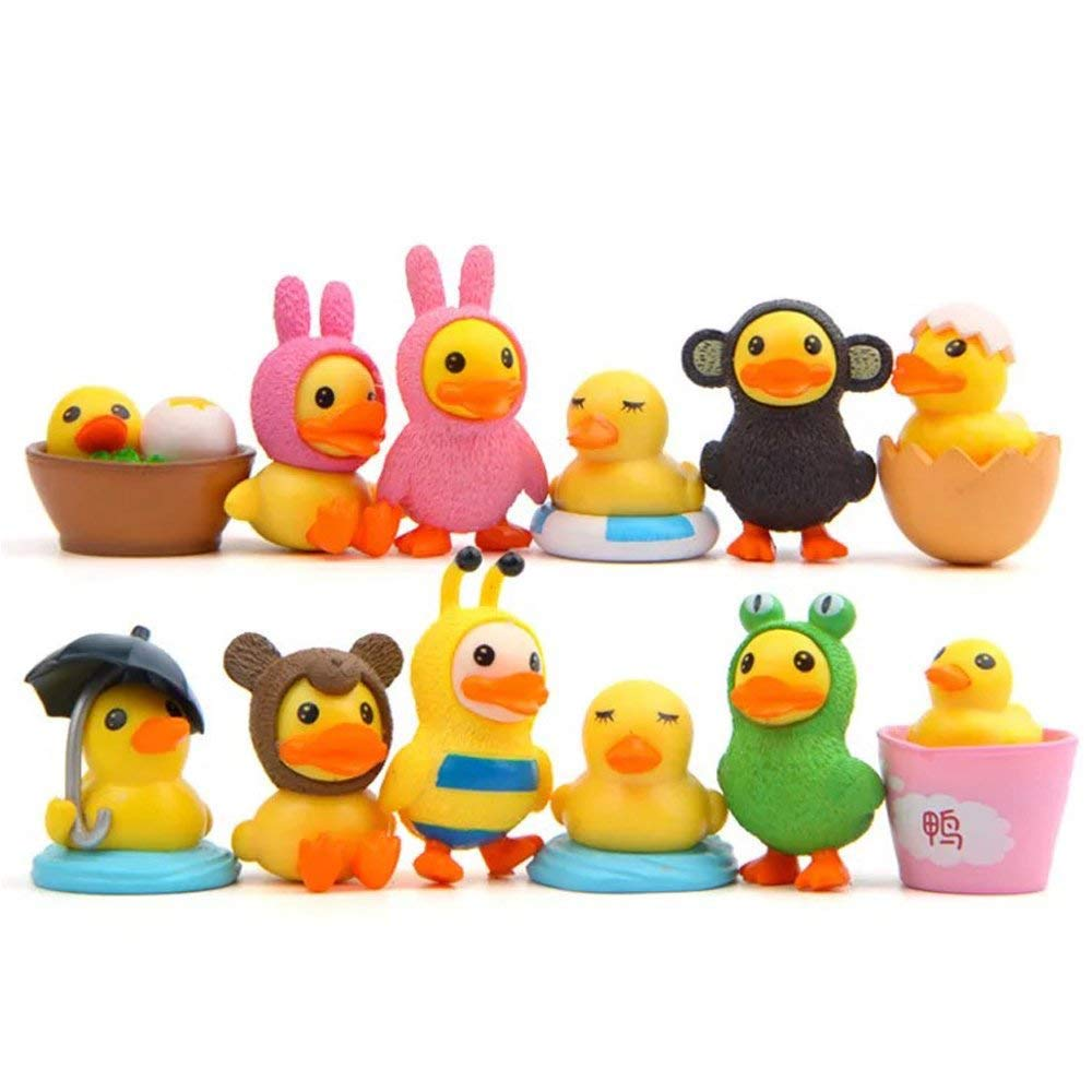 LW 12 pcs Little Yellow Duck Toys, Mini Figure Collection Playset, Cake Topper