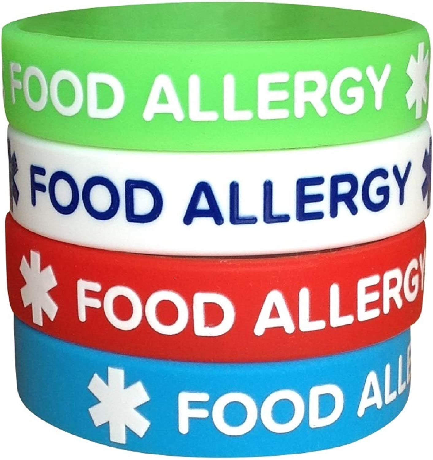 Food Allergy Silicone Bracelets for Teens Kids Child 6.3