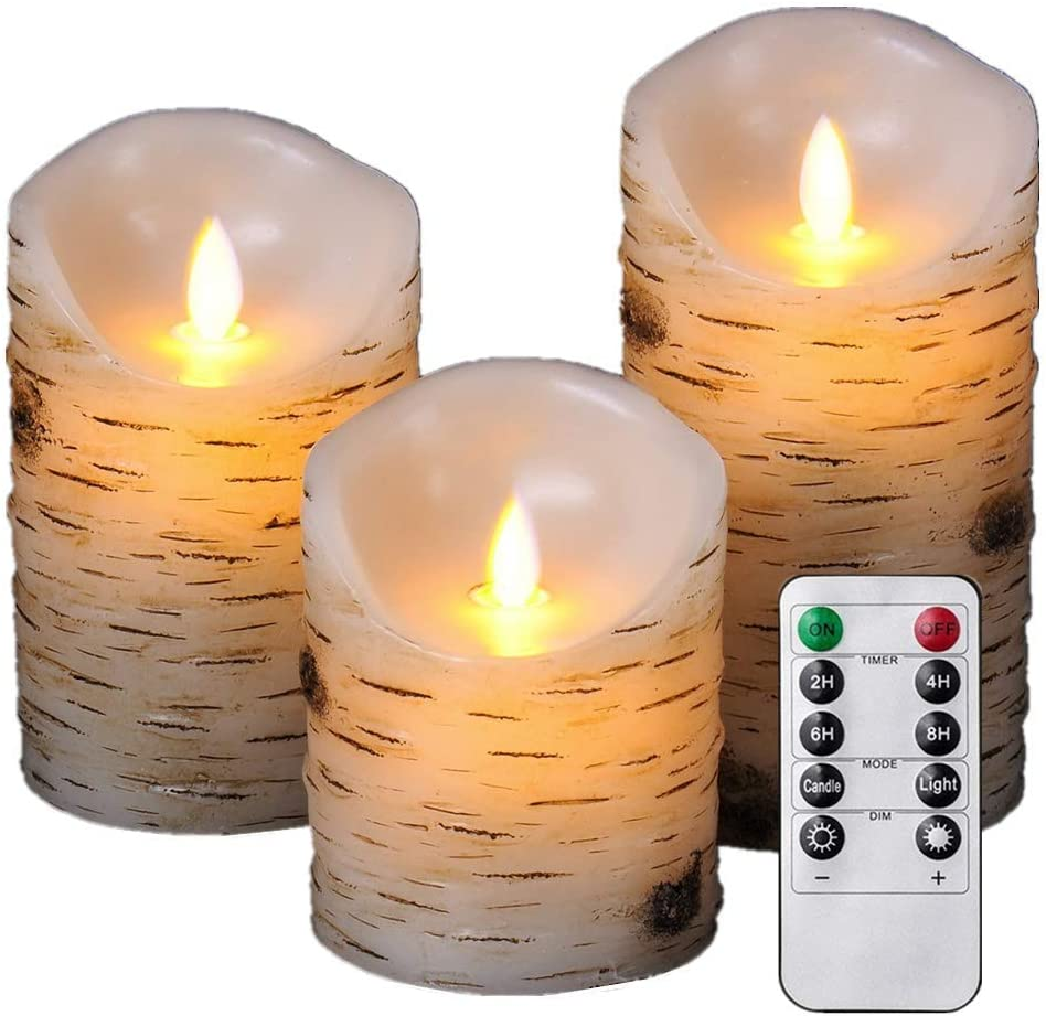 """HEIOKEY Flameless Candle Set of 3 (4"""" 5"""" 6"""") LED Flameless Candles with Birch Bark Effect Dripless Real Wax Flickering Pillar Lights Battery Operated Dancing Candles with Timer and Remote Control"""