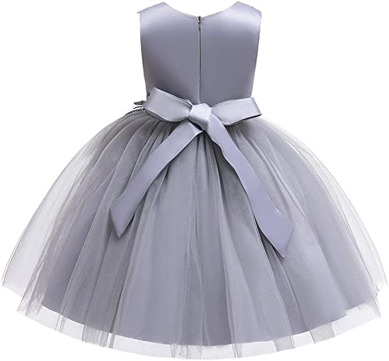 Girls Sleeveless Butterfly Dress Kids Casual Lace Chiffon Stripy Dress 3-12 Y