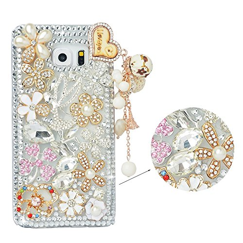 (Spritech(TM Samsung Galaxy Note 5 Clear Phone Case,Silver Bling 3D Handmade Crystal Angel Golden Flower Heart Pattern Pendant Design Hard Smartphone Cover for Samsung Galaxy Note 5)