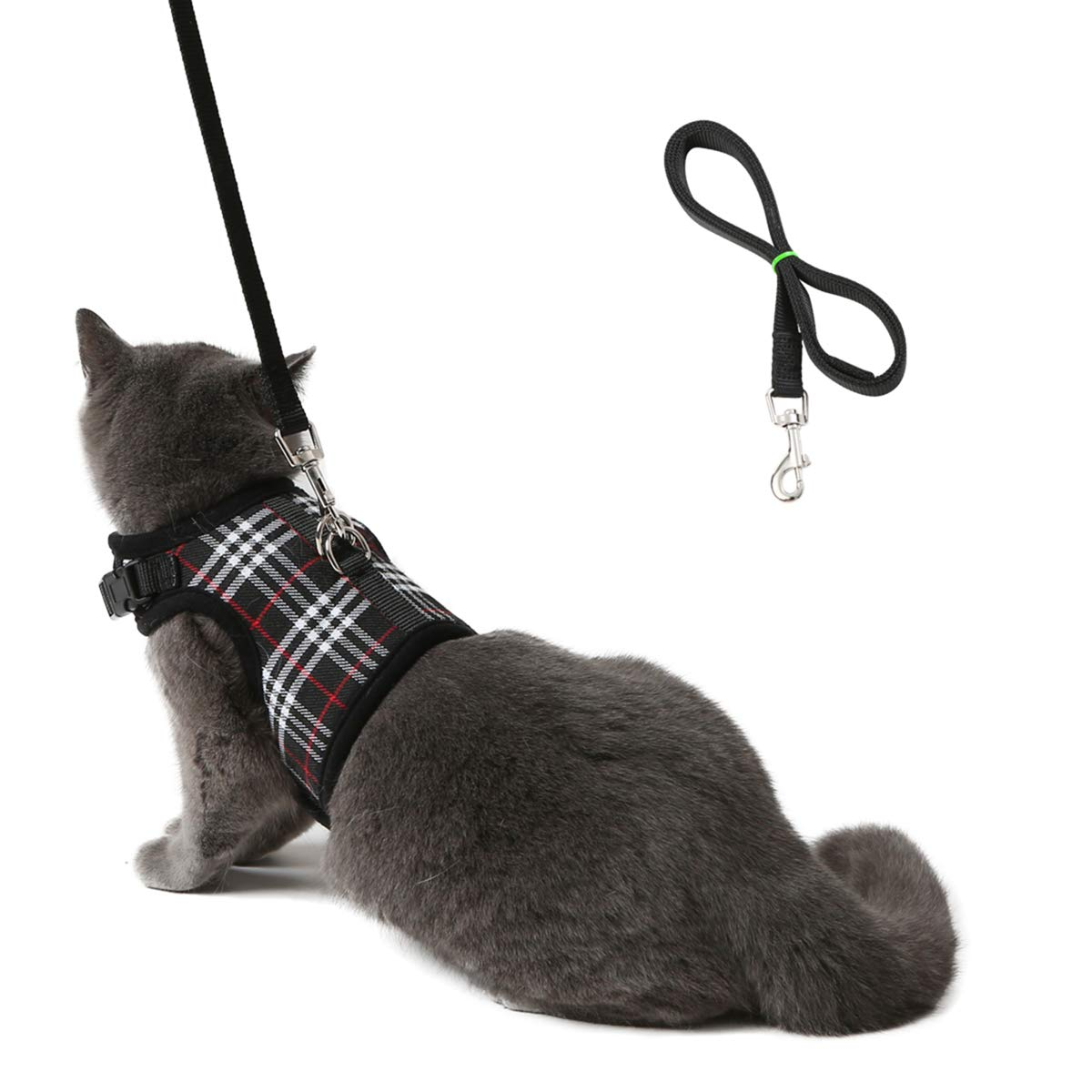 WZPB Cat Harness and Leash Set- Adjustable Soft Mesh Cat Harness for Walking Escape Proof