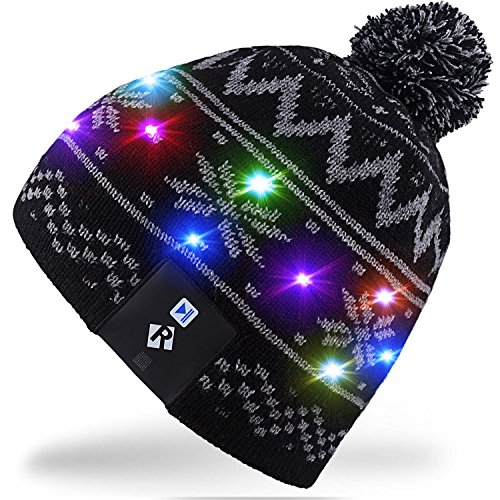 Mydeal LED String Light Up Beanie Hat Knit Cap with Copper Wire Colorful Lights 4 feet 18 LEDs for Men Women Indoor and Outdoor, Festival, Holiday, Celebration, Parties, Bar, Christmas Gifts - Black Under Hat Clothing