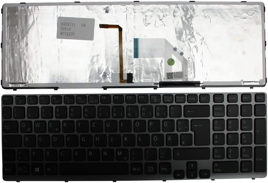 Sony Vaio SVE1512K1EB Sony Vaio SVE1512K1R Sony Vaio SVE1512KCXS Keyboards4Laptops German Layout Grey Frame Backlit Black Windows 8 Laptop Keyboard for Sony Vaio SVE1512K1E Sony Vaio SVE1512K1ESI