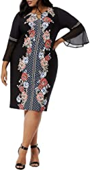 bf42e02e55b JM Collection Womens Plus Embellished Bell Sleeve Cocktail Dress