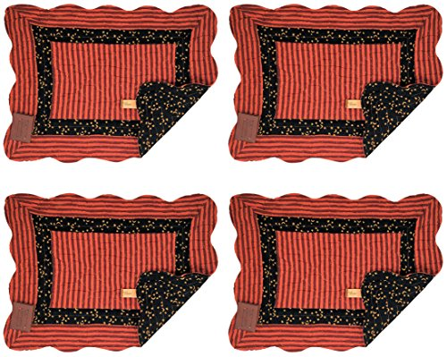 Quilted Multi Placemat (Great Finds Moon Stars 4 Piece Orange Reversible Quilted Placemat Set, 0275PM, 18x13