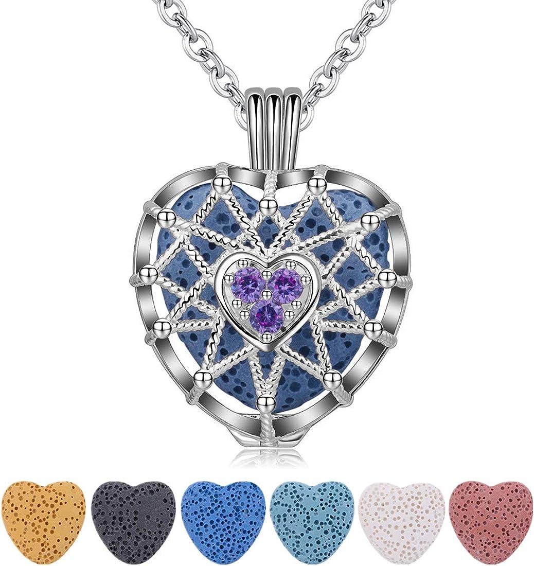 CELESTIA Collar de Difusor de Aceite Esencial Aromaterapia, Colgante de Medallón Plateado Corazón de Mujer con 7 Piedras de Lava Reutilizables