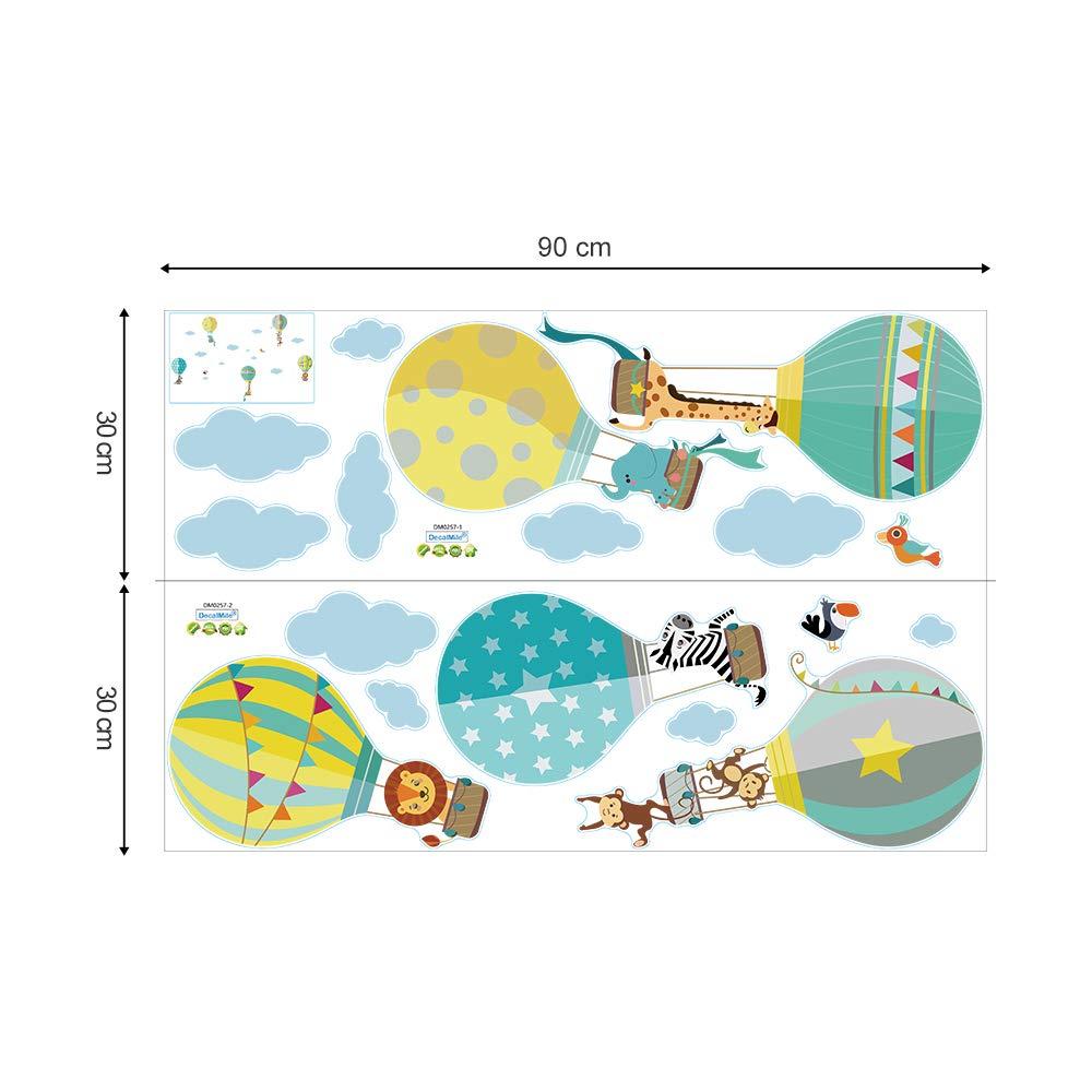 decalmile Montgolfi/ère Animaux Stickers Muraux Girafe Zebra Amovibles Autocollants Chambre Enfants B/éb/é Garderie Salon D/écoration Murale Yanfeng .
