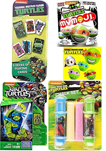- Teenage Mutant Ninja Turtles Stealth Leo Mega Figure + Mystery Funko Mymoji Action Vinyl & Sidewalk Chalk - 2 Decks of Playing Cards in Tin - Leonardo / Raphael / Michelangelo / Donatello fun set