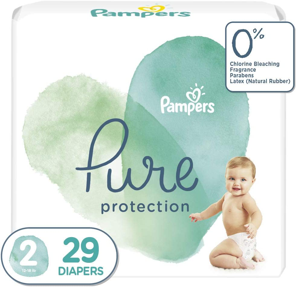 Diapers Size 2, 29 Count - Pampers Pure Protection Disposable Baby Diapers, Jumbo Pack