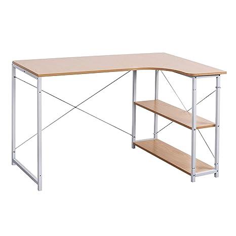 WOLTU Escritorio tsb11hei Oficina Muebles PC Mesa Oficina Mesa Mesa de  Trabajo de Madera y Acero, con Estante, Aprox. 120 x 74 x 71,5 cm