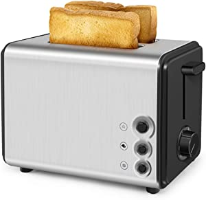 2 Slice Toaster, Stainless Steel Wide Slot Bread Toaster with Removable Crumb Tray, Two Slice Toaster with Cancel/ Bagel/ Defrost Functions Extra-Wide Slot Toasters with 6 Browning Settings