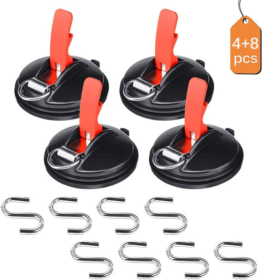 TTAototech 2 Pairs Suction Cup Hanging Hook Window for Wall Car Multifunctional Suction Cup Type S Hang Hook