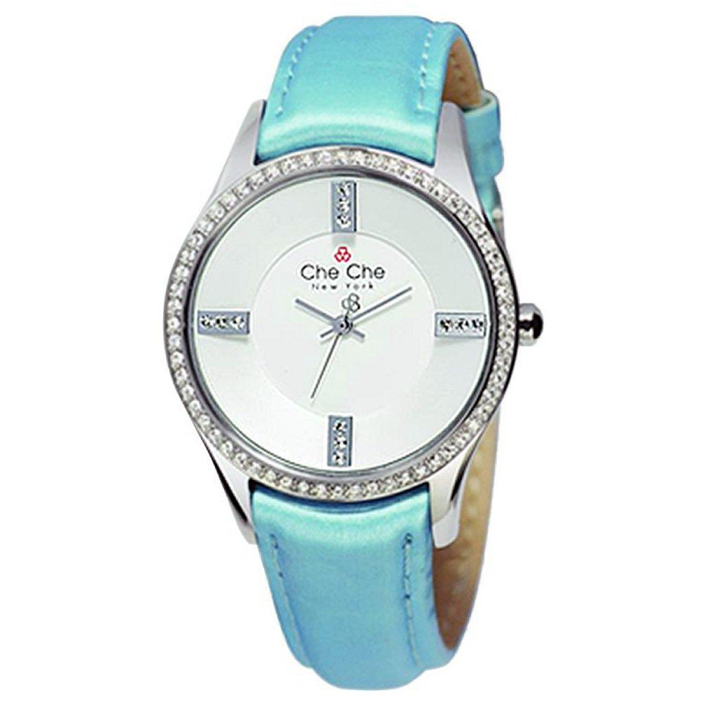 [チチ ニューヨーク] Che Che NewYork 腕時計 ウォッチ ラインストーン 本革 レザー ブルー レディース [並行輸入品] B014US0U02