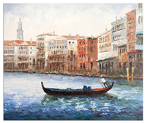 (Yqm Art - Hand Painted Oil Paintings Stretched Framed Ready to Hang Venice Modern Abstract Painting Canvas Living Room Bedroom Office Wall Art Home Decoration)