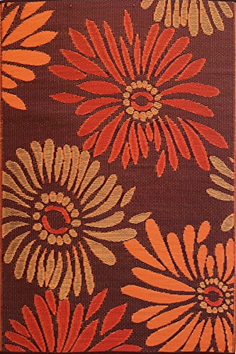 Mad Mats® Daisy Indoor/Outdoor Floor Mat, 4 by 6-Feet, Rust (Flower Rug Weave)