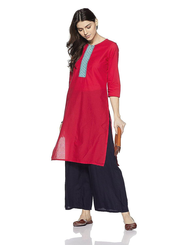 Dark Pink Muta Fashion Cotton Blend Semi Stitched Free Size Ethnic Women Kurti