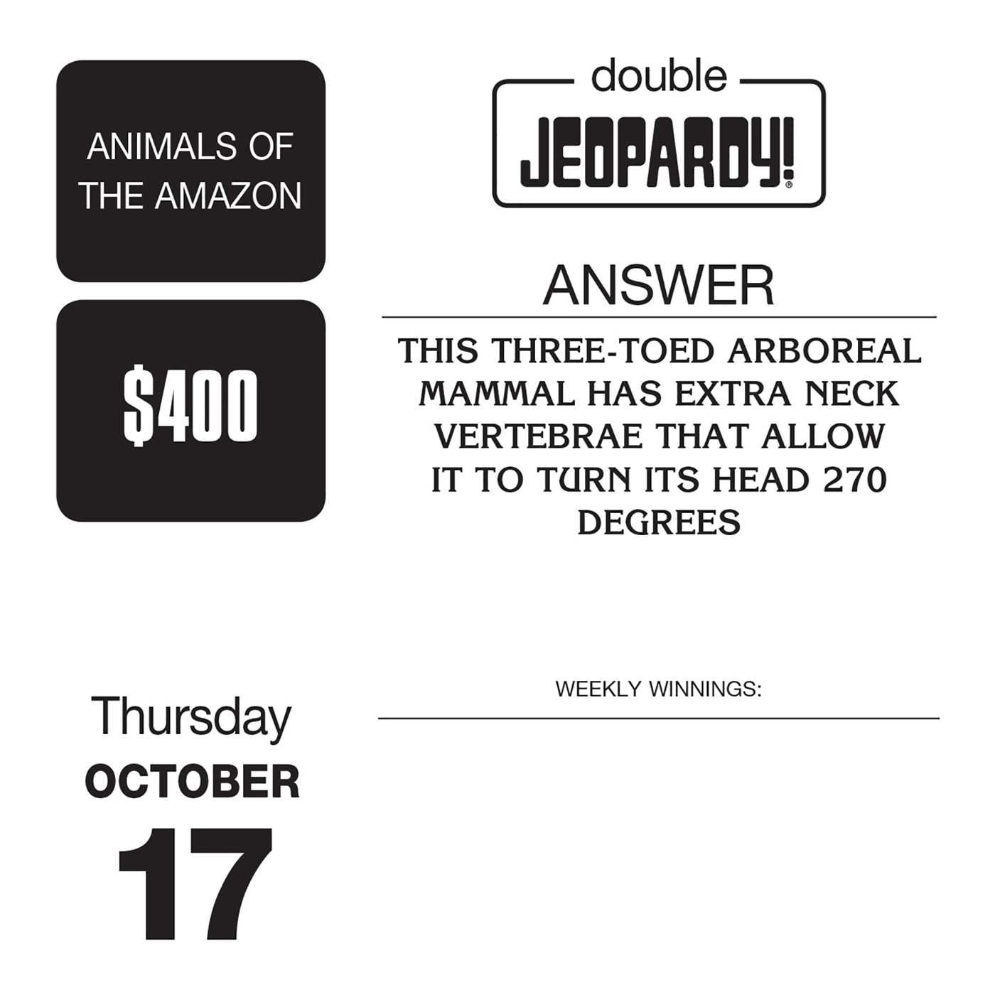 Jeopardy! 2019 Day-to-Day Calendar: Sony: 0050837418547