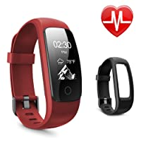 Letsfit Fitness Tracker HR, Bluetooth Activity Tracker Watch Red, Sleep Tracker Calorie Counter Pedometer Watch for Android & IOS
