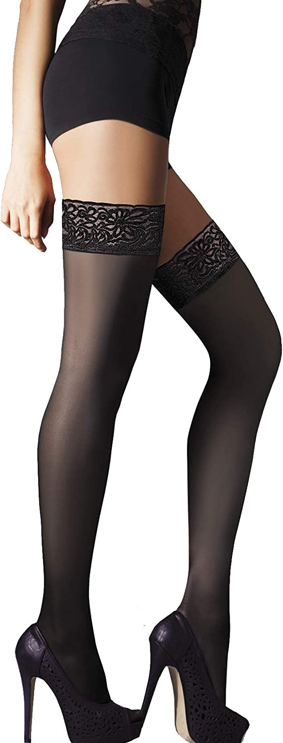Annes styling Sila 40 Denier Womens Lace Thigh High Opaque Hold Up Nylon Stockings with Invisible Silicone