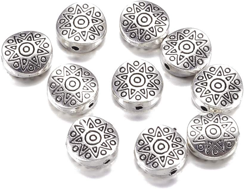FASHEWELRY 20pcs Antique Silver Tibetan Style Flat Round with Star Alloy Metal Beads Spacers Loose Spacer Beads Charms 10mm for Jewelry Making Findings Lead Free /& Cadmium Free /& Nickel Free
