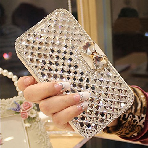 iPhone 6S Plus Case,iPhone 6 Plus Case,Luxury 3D Bling Crystal Rhinestone Flip Wallet Case PU Leather Scratch Resistant Stand Card Slots Case +Touch Pen Dust Plug for iPhone 6S Plus / 6 Plus,White ()