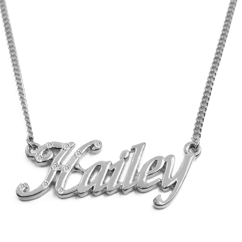 86aa88e1c15cf Amazon.com: Zacria Name Necklace Hailey - 18K White Gold Plated: Jewelry