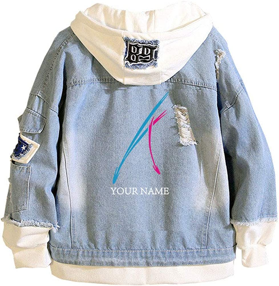 Gumstyle Your Name Anime Denim Hoodie Jacket Adult Cosplay Button Down Jeans Coat