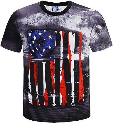 Wiltson Bandera Americana Nuevo Imprimir Camisetas Hombres Tops Casual Camiseta Homme Comodidad algodón t Camisa: Amazon.es: Ropa y accesorios