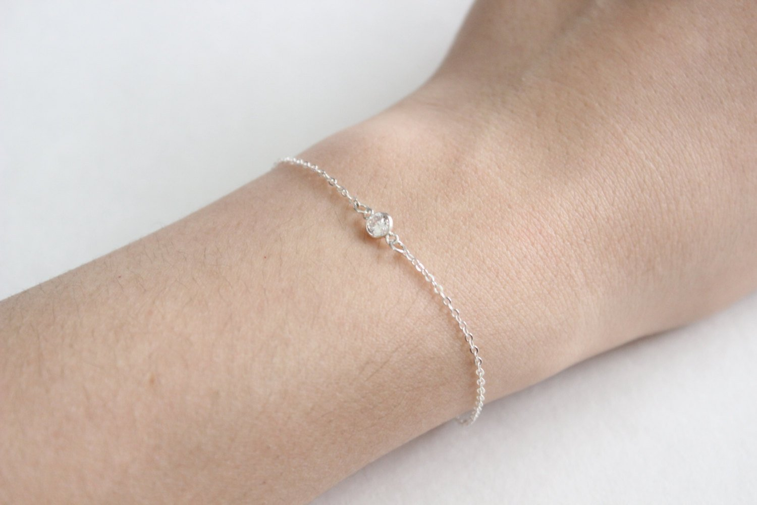 Sterling Silver Crystal Bracelet Tiny Sparkling Dainty Everyday Short Simple Jewelry