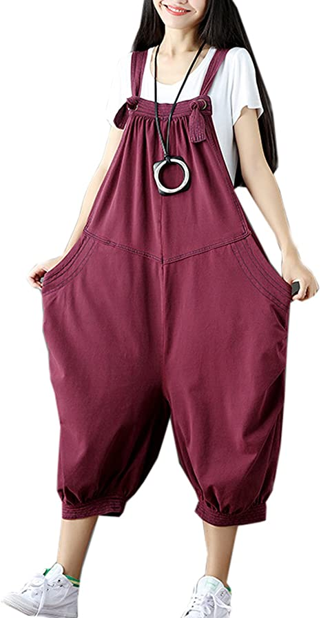 Women Casual Harem Jumpsuit Romper 3//4 Sleeve All In One Loose Overalls Playsuit